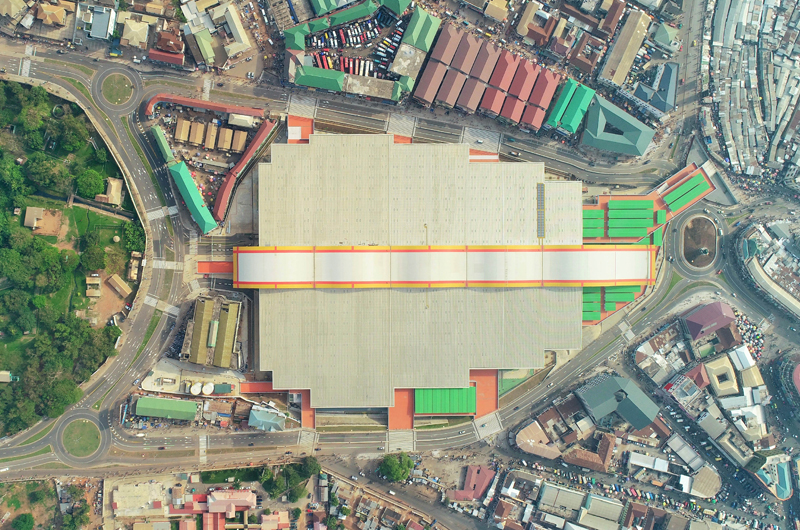 Aerial view of Phase One of the new Kumasi Market exterior