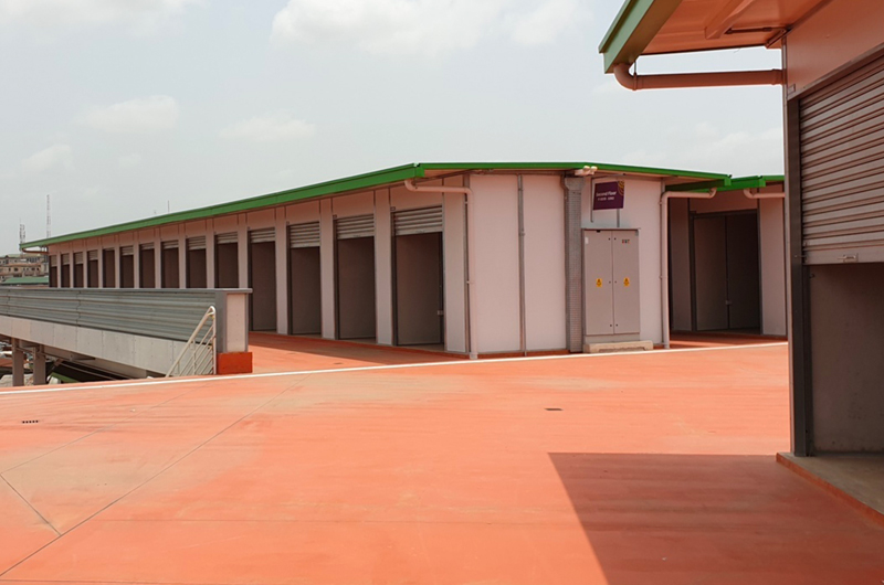 Completion of the market stall infrastructure in Phase One of the new Kumasi Market
