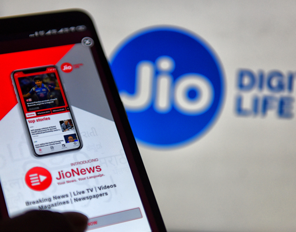 a smartphone with JIO