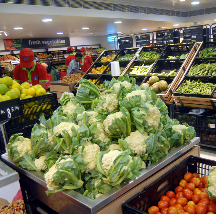 vegetables in supermarket